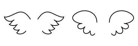 wings bird: Wings collection. illustration set with angel or bird wing icon isolated on white background