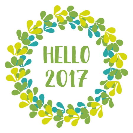 Hello 2017 New Year greenery green color wreath isolated on white background