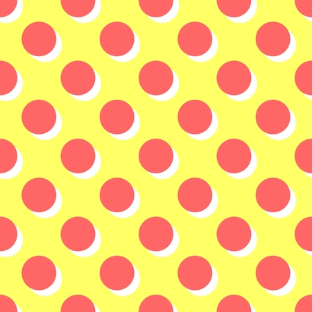 Tile pattern with pink polka dots and orange shadow on yellow background