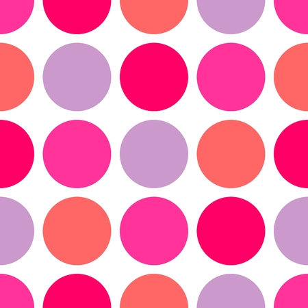 fabric pattern: Tile pattern with big polka dots on white background Illustration