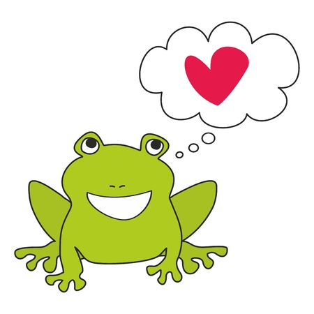 frog in love: Green frog dreaming about love illustration isolated on white