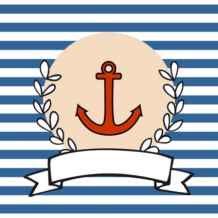 Nautical card or sailor invitation with anchor, pastel background and blue stripes