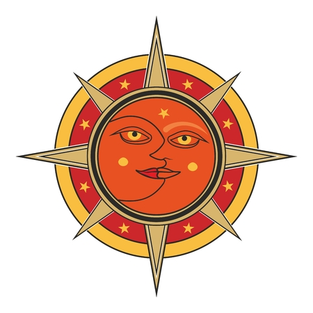 dualism: Sun and moon face traditional oriental india sign - vector day and night allegory isolated on white background.