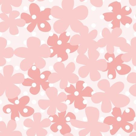 rose: Tile pastel vector pattern with flowers on pink background Illustration