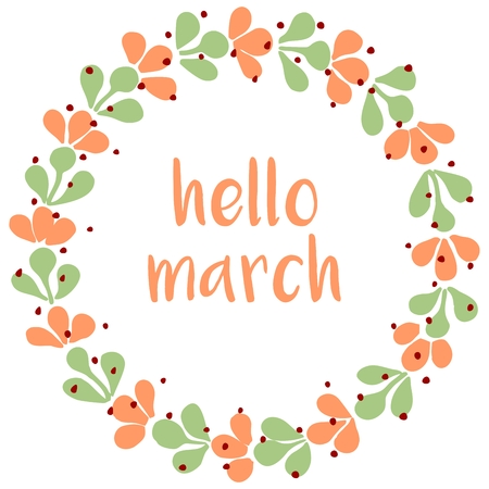 circle flower: Hello march watercolor wreath vector card Illustration