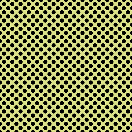 repetition dotted row: Tile vector pattern with black polka dots on grass green background.