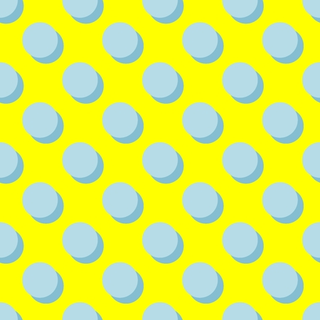 Tile vector pattern with mint green polka dots and shadow on yellow background