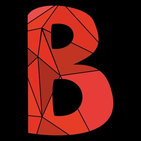 B red alphabet letter isolated on black background Illustration