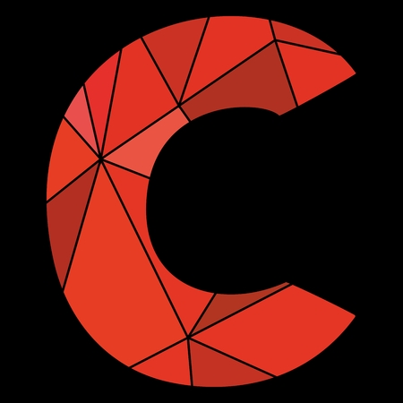C red alphabet letter isolated on black background Illustration