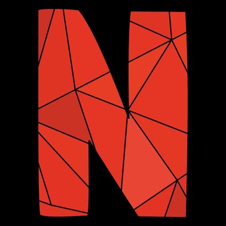surface: red alphabet letter isolated on black background Illustration