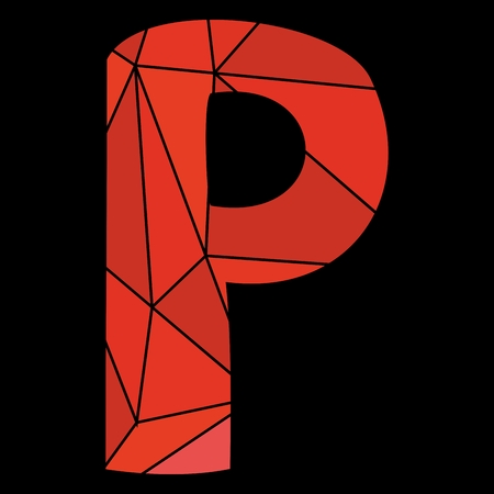 P red alphabet letter isolated on black background