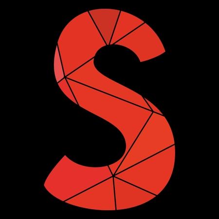 kid s illustration: S red alphabet letter isolated on black background Illustration