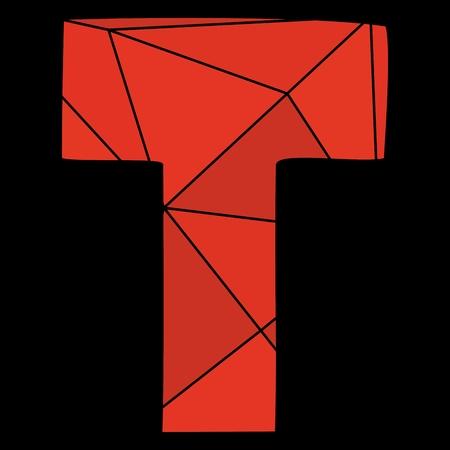 T red alphabet letter isolated on black background Illustration