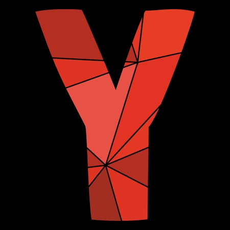 diamond letters: Y red alphabet letter isolated on black background Illustration