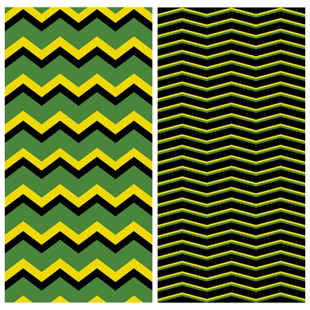 Tile zig zag pattern set vector or black, green and yellow seamless background collection Illustration