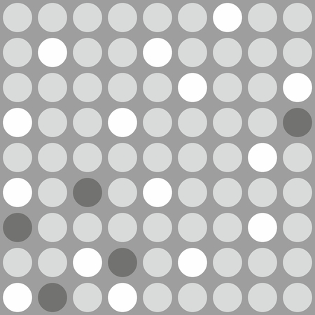 polkadots: Tile pattern with black, gray and white polka-dots on gray background Illustration