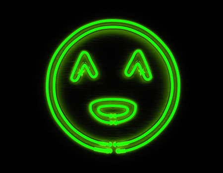 green face: Smiley face 3d render green neon icon on black background