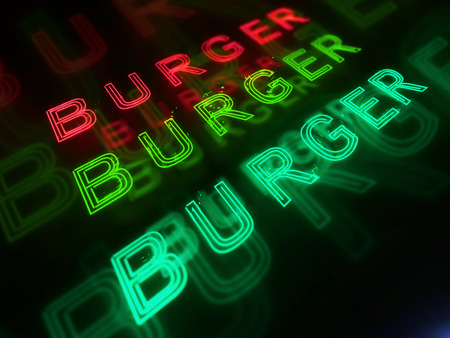 open sandwich: Burger bar red, green and blue neon 3d render illustration sign isolated on black background