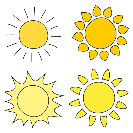 Set of hand drawn sun vector illustrations silhouette - clip art or icon isolated on white background Illustration