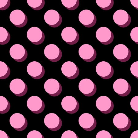 Tile vector pattern with pink polka dots on black background