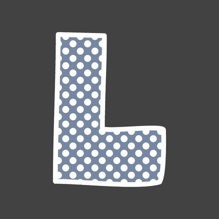 letter: L vector alphabet letter with white polka dots on black background Illustration