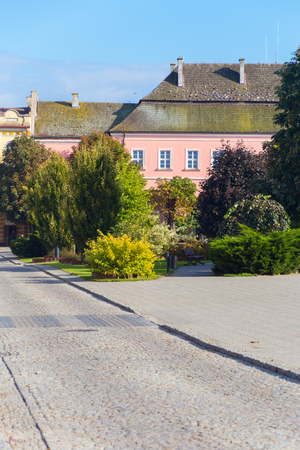 old town house: Traditional old town in Europe. Central square in Opatów, Poland with trees, cobbled street and old tenement house in pastel pink color