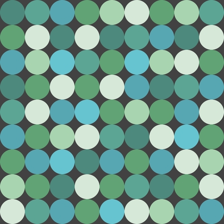Tile vector pattern with polka dots on green background