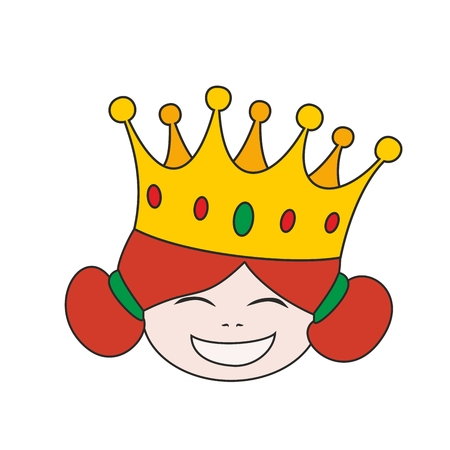 Happy little princess head in crown vector illustration isolated on white background Illustration