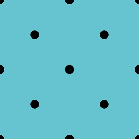 Tile vector pattern with black polka dots on mint green or blue background for decoration wallpaper