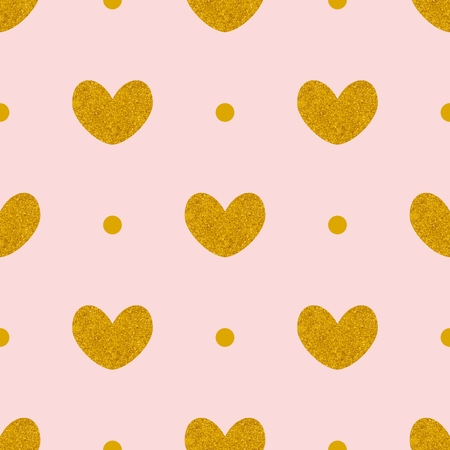 Tile vector pattern with golden hearts and polka dots on pink background Illustration