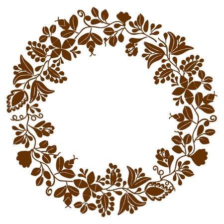 Brown laurel wreath vector frame on white background