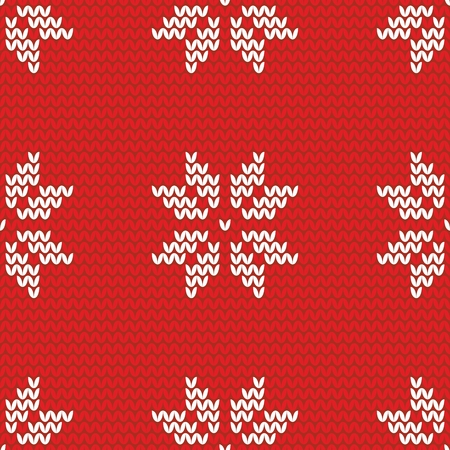 christmas backgrounds: Tile red and white knitting vector pattern or winter background