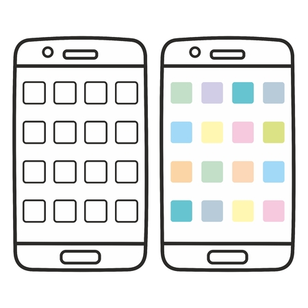 wireless icon: Smartphone vector icon set isolated on white