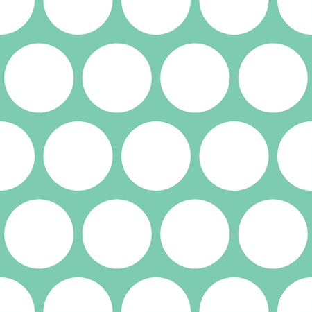 repetition: Tile vector pattern with white polka dots on mint green background