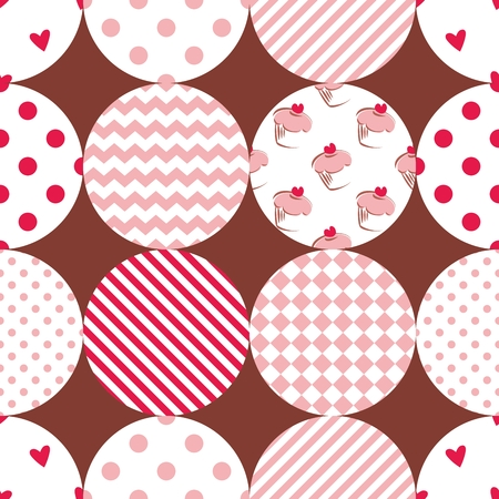 Tile patchwork vector pattern with polka dots, cupcakes and zig zag stripes on brown background