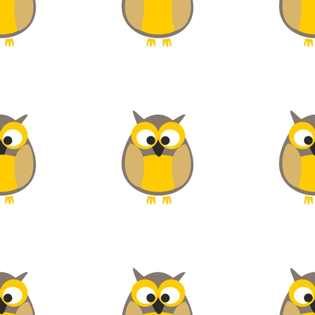 pink and brown background: Tile vector pattern with owls on white background