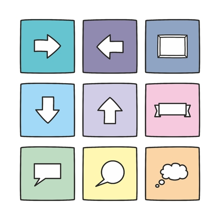 communication icons: Pastel vector icon set isolated on white Illustration