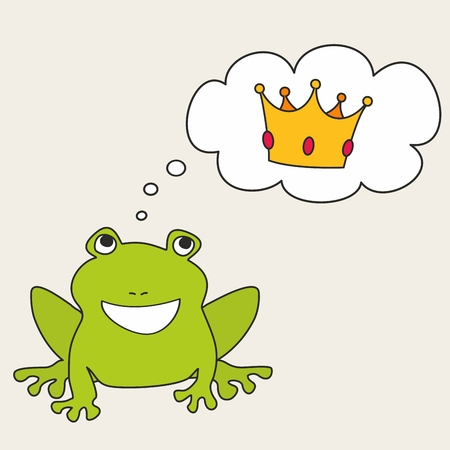 about: Prince or princess frog dreaming about crown. Vector illustration isolated on white background Illustration