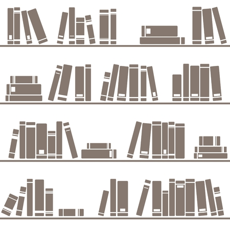 traditional: Tile vector pattern with books on shelf on white background