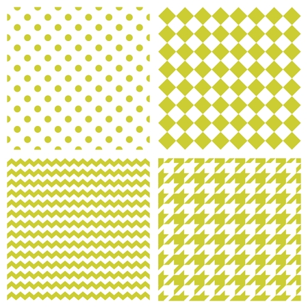 repetition dotted row: Tile vector pattern set with polka dots, zig zag and houndstooth background Illustration