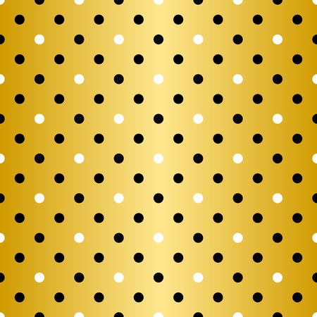 gold textured background: Tile  pattern with black polka dots on golden yellow.