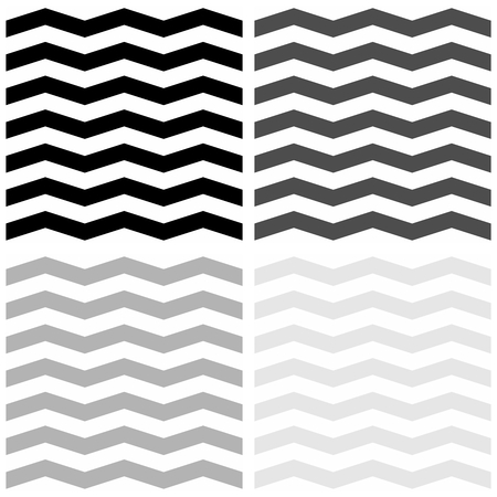 Tile vector pattern set with white, grey and black zig zag background.