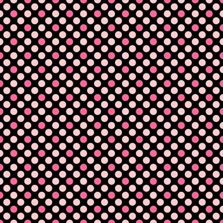 repetition: Tile vector pattern with polka dots on black background