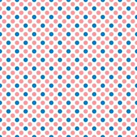 pastel colors: patrón de mosaico del vector con puntos de color rosa y azul lunares sobre fondo blanco