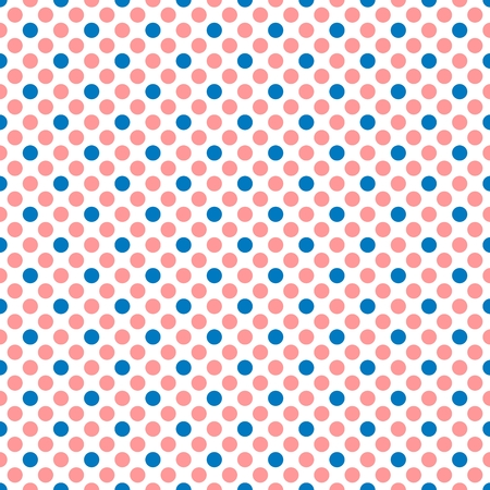 traditional pattern: Tile vector pattern with pink and blue polka dots on white background
