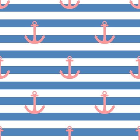 Tile sailor vector pattern with pink anchor on navy blue and white stripes background Illustration