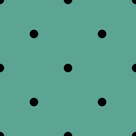 Tile vector pattern with black polka dots on green background. Illustration