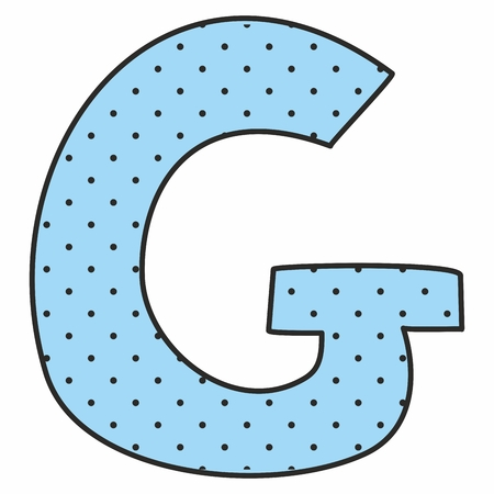 g spot: G blue vector alphabet letter with polka dots isolated on white background