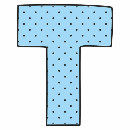 letter: T blue vector alphabet letter with polka dots isolated on white background