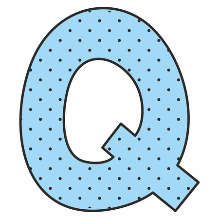 design elements: Q blue vector alphabet letter with polka dots isolated on white background Illustration